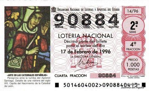 Décimo Del Sorteo Extraordinario De Lotería De San Valentin Celebrado El 17 De Febrero De 1996 Coleccionismo Loteria Col Lotería Nacional Lotería Sorteo