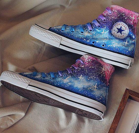 Dipinti a mano tela unica galassia Converse scarpe di binghai