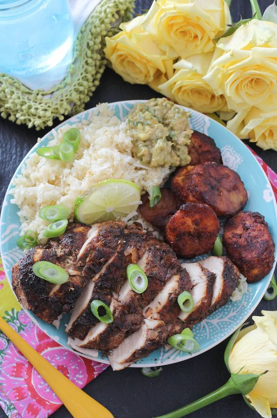 Baked Jerk Chicken with Coconut Rice & Cinnamon Sweet Plantains: