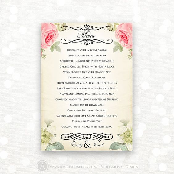 Printable wedding menu editable vintage floral instant for Editable menu template