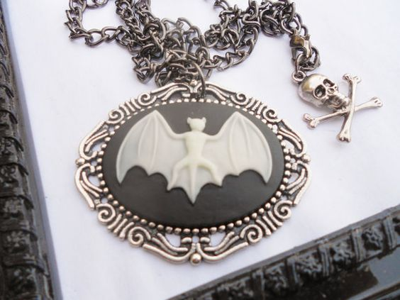 Bat Cameo Necklace and Brooch by LEBEAUTYEXORCIST on Etsy, $18.00