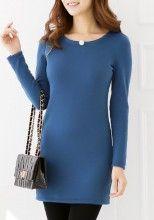 Navy Blue Patchwork Bright Wire Cotton Blend Dress