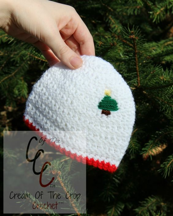 Cream Of The Crop Crochet ~ Preemie/Newborn Christmas Tree Hats {Free Crochet Pattern}