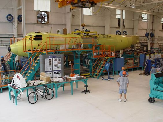 Grumman Martin E-2D Advanced Hawkeye fuselage assembly. How advanced the bicycle beside it and it's avionics and anti submarine/shipping attack capabilities is i don't know.