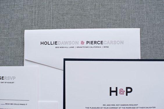 Modern Wedding Invitation - Monogram Black and White  - Hollie and Pierce sur Etsy, $2.63
