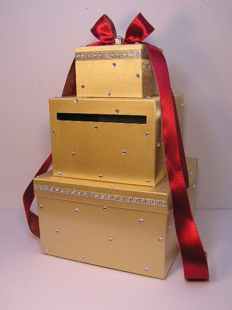 Wedding Card Box Gold and RedScarlet Gift Card Box Money Box – Red Wedding Card Box