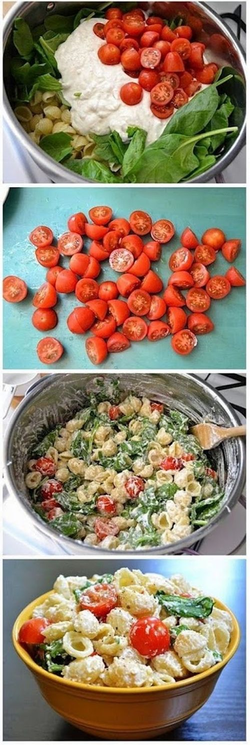 Roasted Garlic Pasta Salad... but with goat cheese