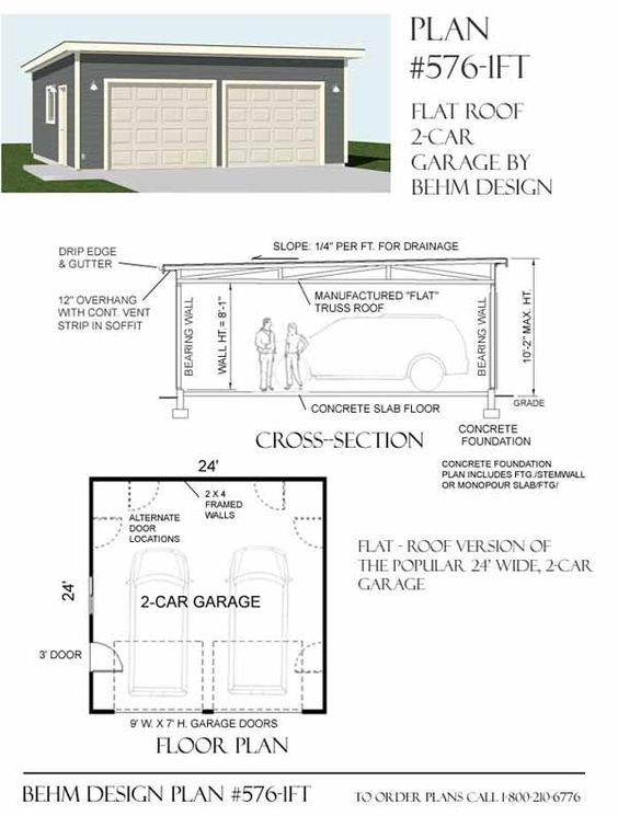 Two Car Garage With Flat Roof Plan 576 1ft 24 39 X 24 39 By