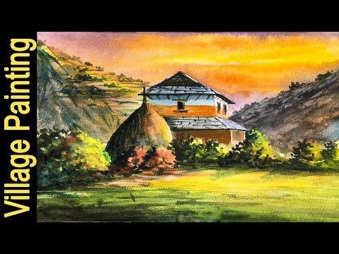 Beautiful Nepali Village Landscape Painting In Watercolor Nature Painting Scenery Paintin Watercolor Landscape Paintings Scenery Paintings Nature Paintings