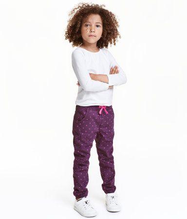 Pantalon jogger doublé | Prune/cœurs | Enfant | H&M CA