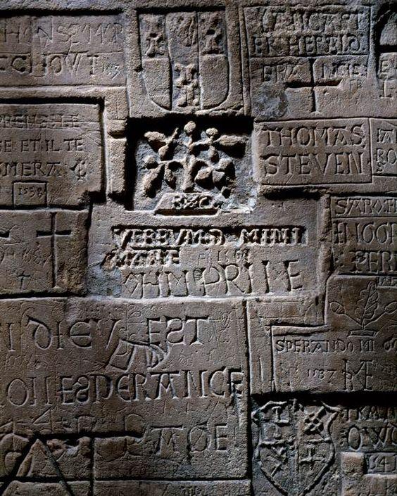Prisoner graffiti at the Tower of London