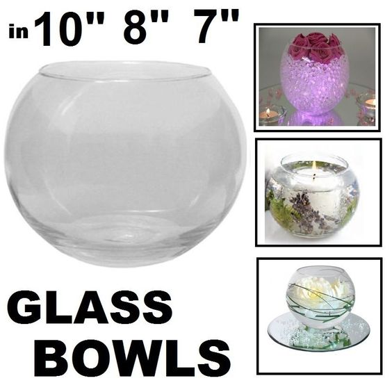 Glass Round Bubble Fish Bowl Wedding Party Ball Large Flower Centrepiece Display