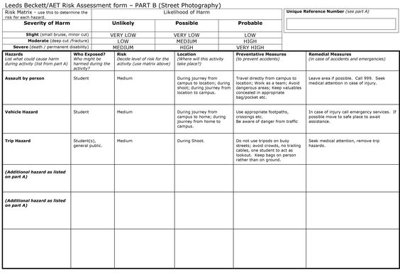 Here is our pre-filled out Part B Risk Assessment form for Street - supplier evaluation template