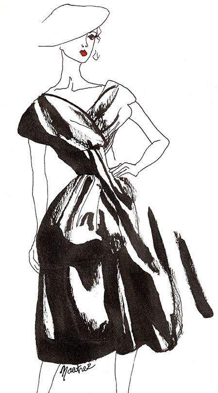 """Robe """"Delphine"""" collection automne-hiver 1956 de l'exposition """"Esprit Dior"""" à Pékin  Croquis encre de chine"""