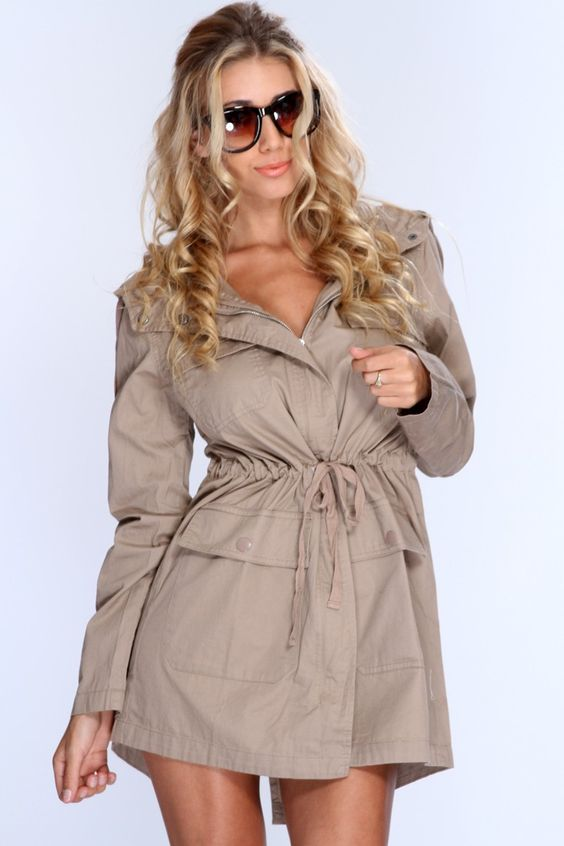 Taupe Draw String Waistband Hooded Outerwear