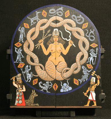 5 Tiamat  (Nammu) a Deusa Primordial, O Caos; a água salgada cujo união com Abzu resultara na Criação.. Derrotada por Marduk e dividida em dois segundo um dos mitos, deu origem aos céus e à Terra como conhecemos. Mãe Esposa de Abzu.
