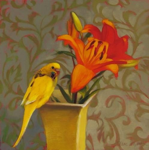 "Daily Paintworks - ""Parakeet and Lilies, and a brief ramble on painting dark values"" - Original Fine Art for Sale - © Diane Hoeptner"