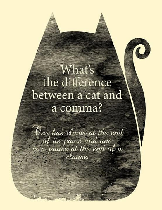 The difference between a cat and a comma?    #EFL #ESL #ELL: