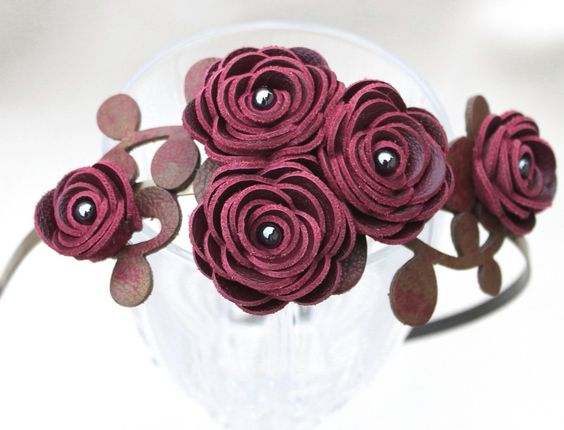 Wine flower headband leather wine ranunculus by Leatherblossoms