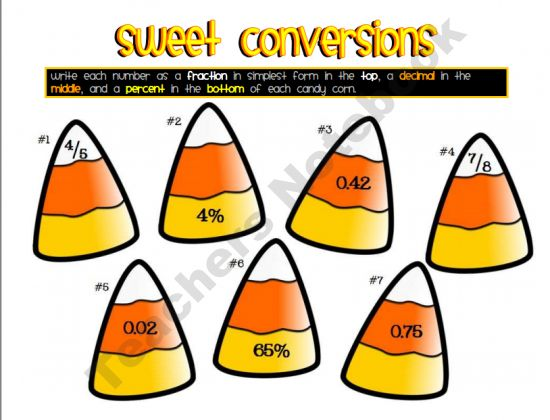 Sweet Conversions Fractions Decimals and Percents Halloween – Candy Corn Math Worksheets