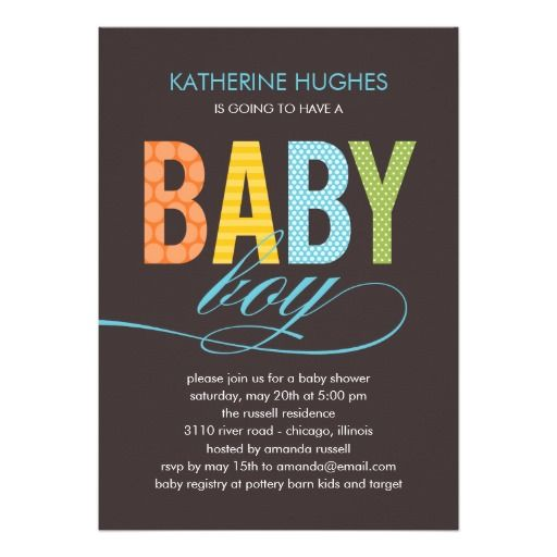 Bright Type Baby Shower Custom Invitation for a Boy #template #templates #babyshower #baby #shower #brown #colorful #boy