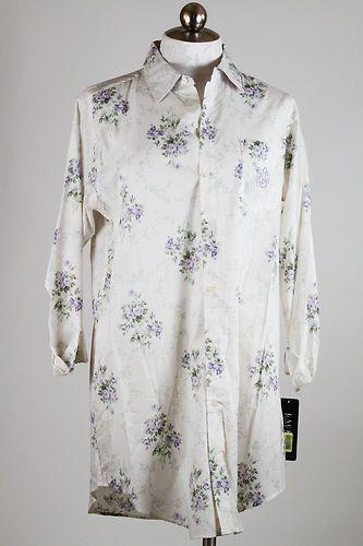 Ralph Lauren Cotton Nightshirt Purple Roses Medium | eBay