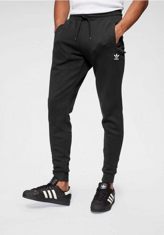 adidas originals joggingbroek »slim flc pant« zwart