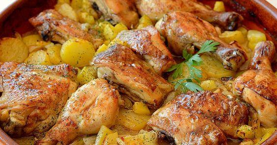 Pollo+asado+al+ajillo+con+limón