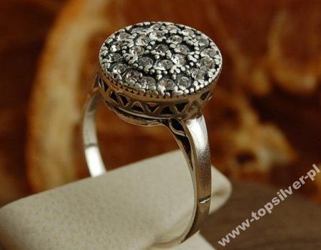 WIEDEŃ - srebrny pierścionek z kryształami rozm15