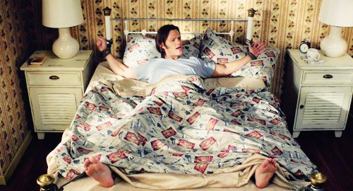 Season Seven, Time For a Wedding.   1) I love this episode. One of my faves from season seven.  2) What the heck is the pattern on that blanket? #Supernatural #SamWinchester