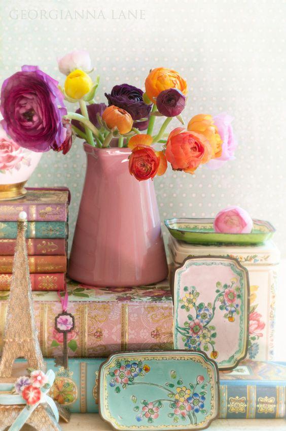 beautiful ranunculus, vintage books & tin trays
