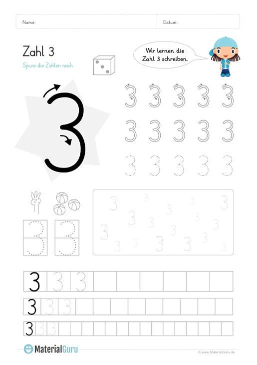 Ein Kostenloses Mathe Arbeitsblatt Zum Schreiben Lernen Der Zahl 3 Auf Dem Die Kinder Die Zah Schreiben Lernen Zahlen Lernen Vorschule Zahlen Schreiben Lernen