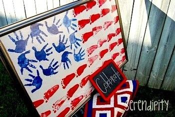 handprint and footprint american flag... this would be awesome to hang in the classroom or put in the hallway as a mural this week!