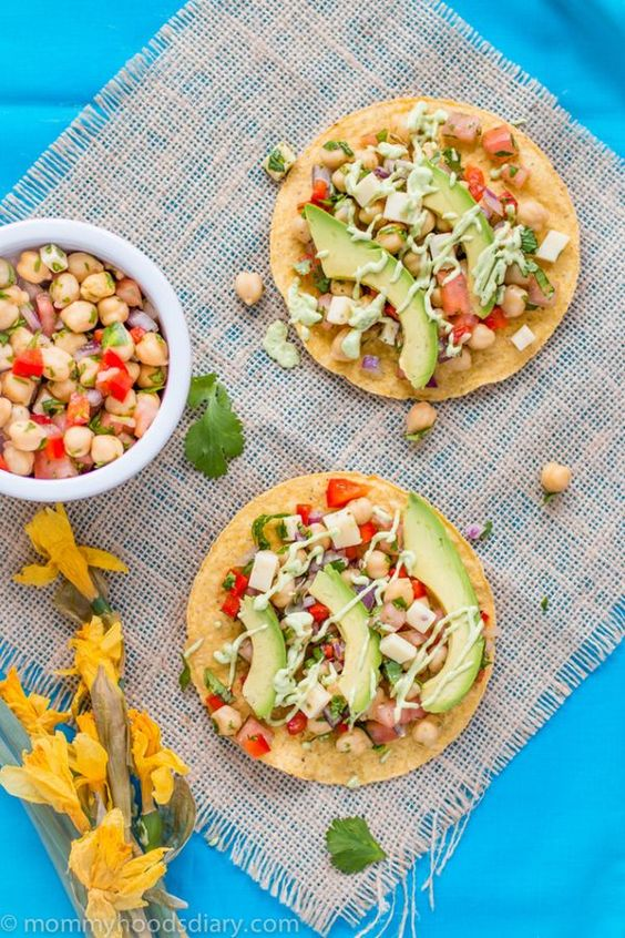Chickpeas and Avocado Tostadas ~ a heathy Meatless Monday recipe for lunch or dinner!