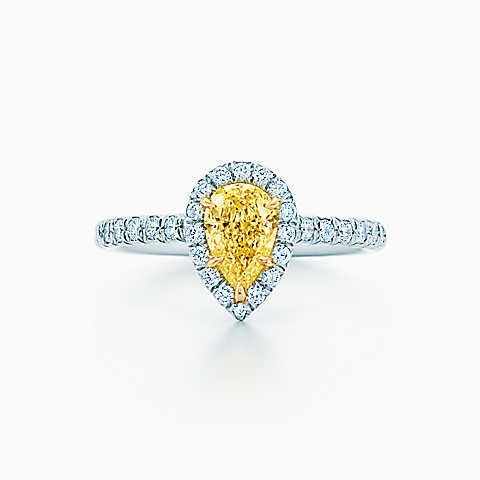 Tiffany Soleste® yellow and white diamond ring in platinum and 18k gold.