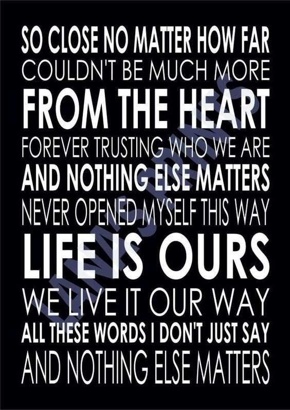 Details about NOTHING ELSE MATTERS - METALLICA - Word Wall ...