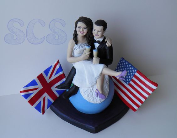long distance relationship cake topper
