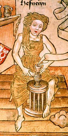Medieval Potter at work - Hofämterspiel, Kunsthistorisches Museum, Vienna, second half 15th century: