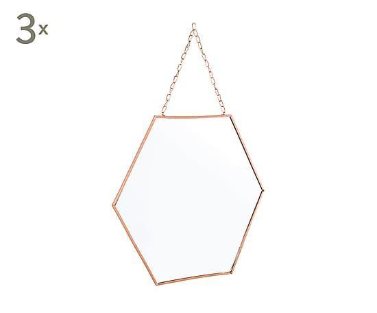 Set de 3 espejos de metal Helly, dorado - 36x40 cm