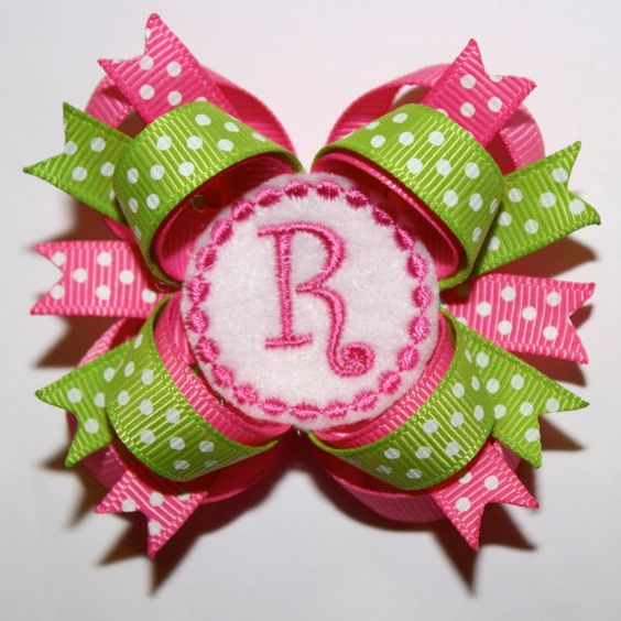 """2.5"""" Mini Personalized Hot Pink Lime Green Polka Dots Stacked Hair Bow"""