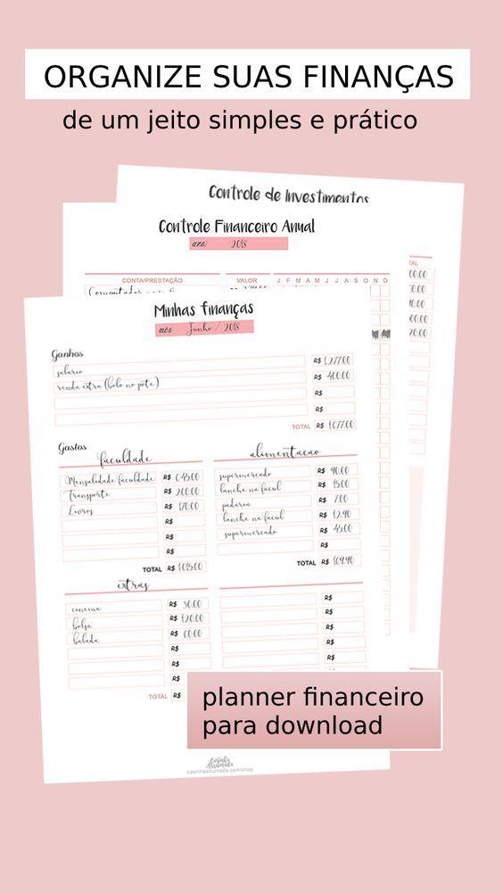 Planner Financeiro Para Download Em 2020 Planner Financeiro