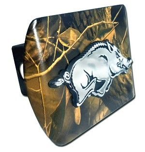 University of Arkansas Running Hog on Camo Hitch Cover . Made in the USA. A step above in quality and appearance.
