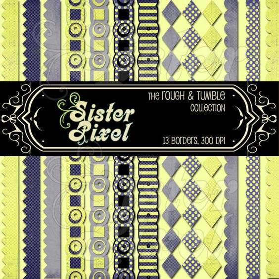 Digital Borders from the Rough & Tumble collection by SisterPixel, $2.00