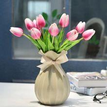 10 Fleurs/Bouquet PU Tulip Fleurs Artificielles Haute Simulation Plantes Festive Accueil Party Decoration Fleurs Élément De Décoration De Mariage
