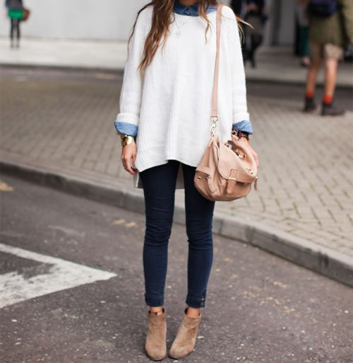 need to have skinny legs to make this work but blue black rolled jeans, tight, with books make it relaxed and comfy look