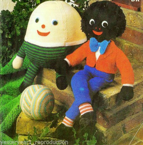 VINTAGE KNITTING PATTERN GOLLIWOG HUMPTY AND BALL TOY TO MAKE Knitted Toys ...