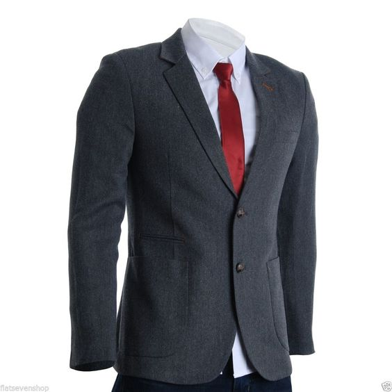 FLATSEVEN Herren Designer Slim Fit Twill Sakko Blazer Jacke Grau (BJ2114)