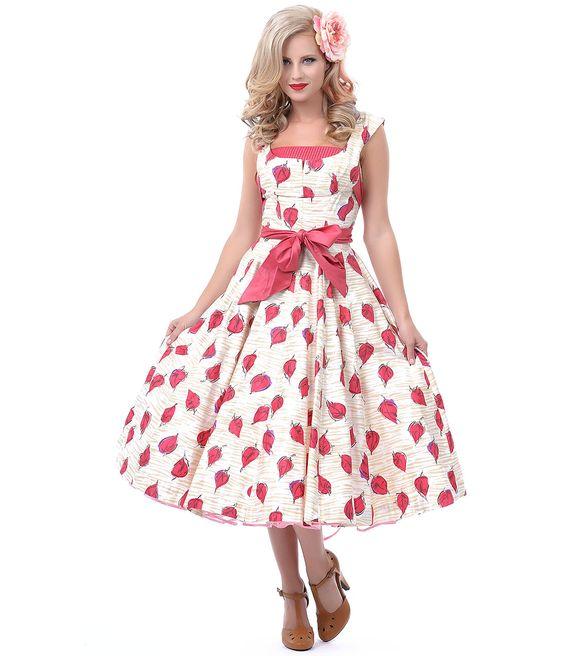 1950s Authentic Vintage Pink Cream Leaf Print Swing Dress (41216 ...