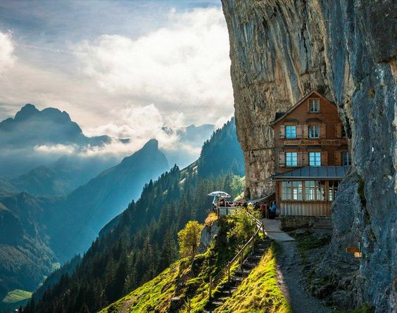 This cliff hotel is located in Switzerland. It allows guests to dine on fresh cuisine while overlooking the mountainside. Do you know what is even better than rock climbing? Rock lounging.