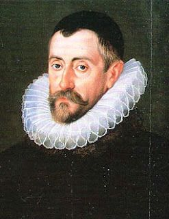 "Detail of a portrait of Sir Franics Walsingham (1536-1589). Walsingham succeeded Burghley as Secretary of State in 1573. He acted as Ambassador to Scotland, France and the Netherlands, while acting as Queen Elizabeth I's ""spymaster"". It was Walsingham's network that uncovered the Mary, the so-called Queen of Scot's treachery and the Babington Plot."